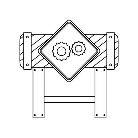 barricade signaling with gears vector illustration design