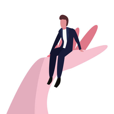 businessman sitting on hand on white background vector illustration