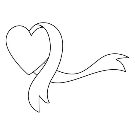 heart ribbon autism awareness day vector illustration Illustration