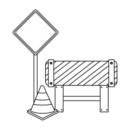 signaling cone with barricade isolated icon vector illustration design