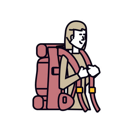 traveler woman with travel bag avatar character vector illustration design