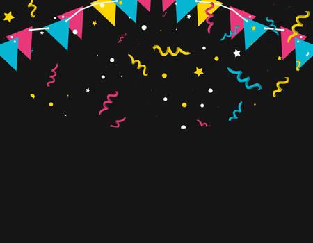 pattern of party confetti with garlands hanging vector illustration design Ilustración de vector
