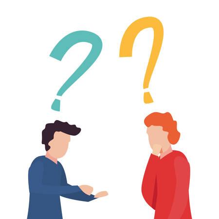 trivia night - men question signal vector illustration Illustration