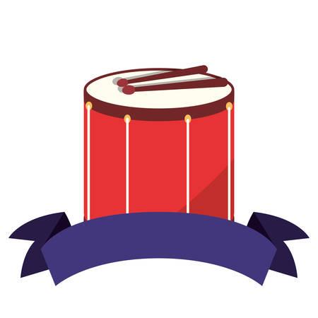 drum sticks ribbon on white background vector illustration