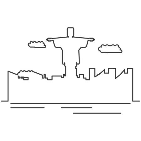 corcovado christ monument with cityscape vector illustration design Иллюстрация