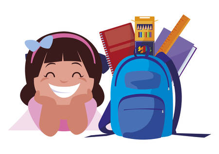 happy little schoolgirl with schoolbag and supplies vector illustration design