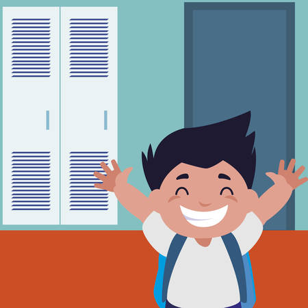 little schoolboy with schoolbag in school corridor vector illustration design