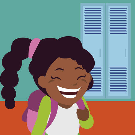little black schoolgirl with schoolbag in school corridor vector illustration design Ilustração