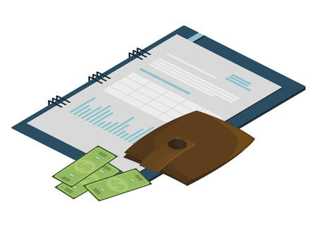 wallet with bills dollars and notepad vector illustration design