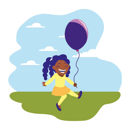 happy girl holding balloon in the outdoors vector illustration