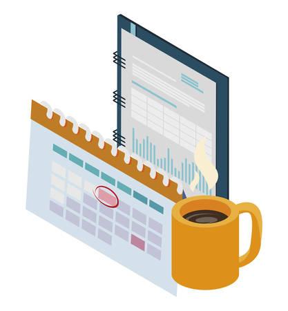 office notepad with calendar vector illustration design Illustration