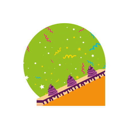 slice sweet cake of birthday vector illustration design