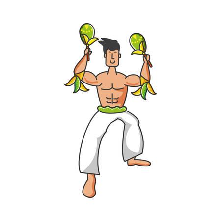 man brazilian dancer with maracas instrument vector illustration design