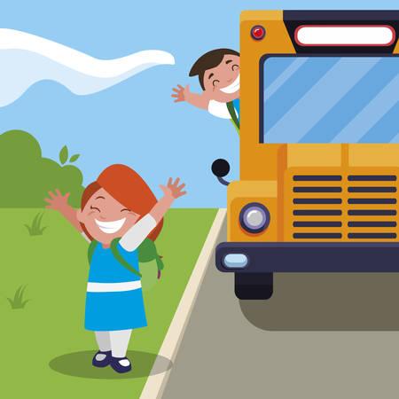 happy little school kids in the bus stop vector illustration design Illusztráció
