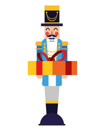 chritsmas nutcracker with gift box vector illustration
