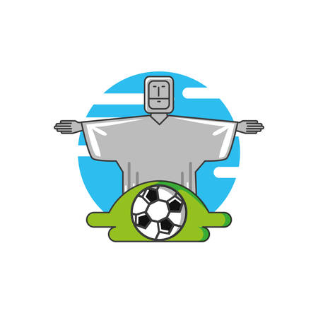 corcovado christ monument with soccer ball vector illustration design