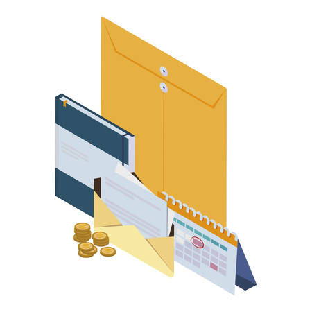 manila envelope with office icons vector illustration design