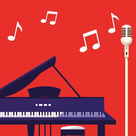 grand piano and microphone vector illustration design Standard-Bild - 119782709