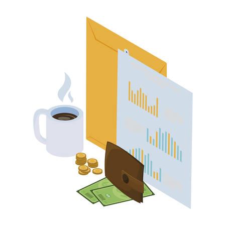 Enveloppe de Manille avec des icônes de bureau conception d'illustration vectorielle Vecteurs