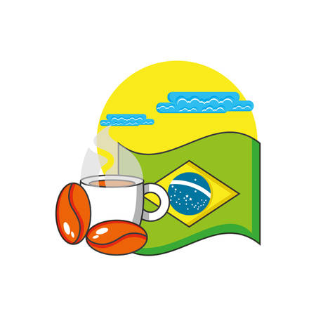 flag of brazil with cup coffee vector illustration design