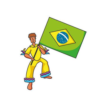 man with flag brazilian vector illustration design
