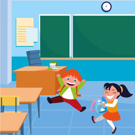 happy little school kids in the classroom vector illustration design