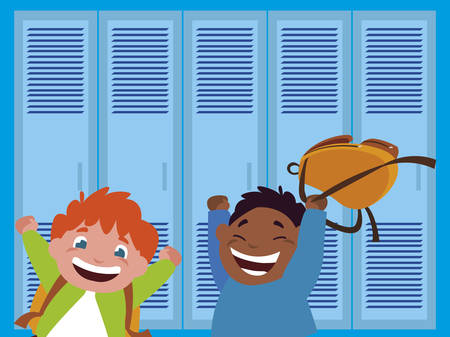 happy little interracial boys in the school corridor vector illustration design