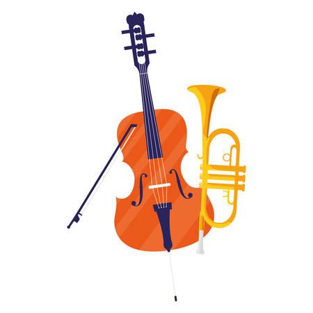 fiddle and trumpet instruments musical vector illustration design