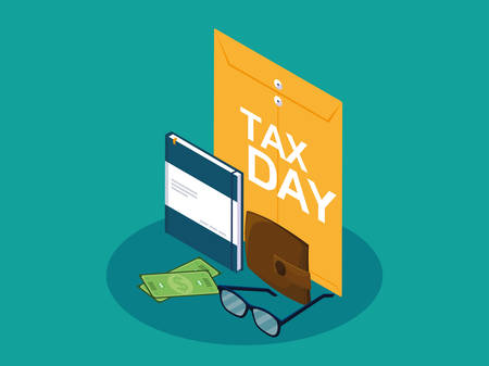 tax day with envelope manila and business icons vector illustration design