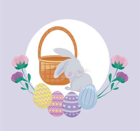 cute rabbit with eggs of easter and flowers vector illustration design