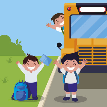 happy little schoolboys in the bus stop vector illustration design