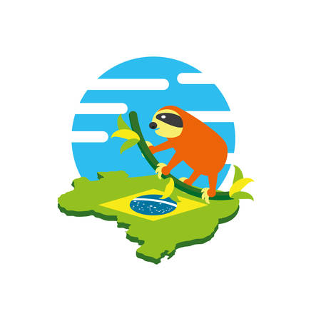 sloth animal with map of brazil vector illustration design