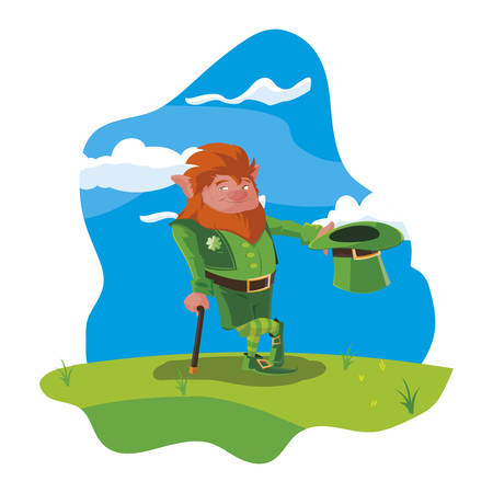 saint patrick lemprechaun with cane in the field vector illustration design Banque d'images - 124131600