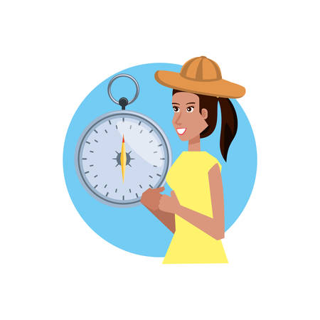 woman with compass guide isolated icon vector illustration design