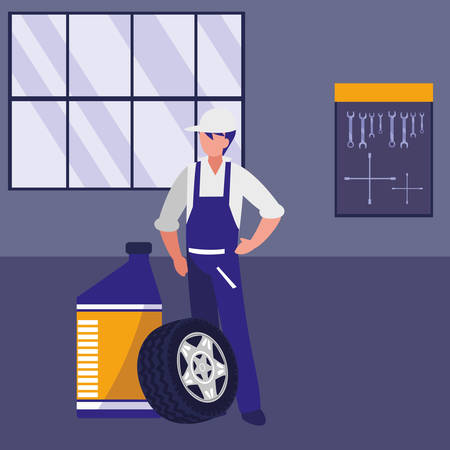 mechanic worker with oil gallon and tire track vector illustration design Vectores