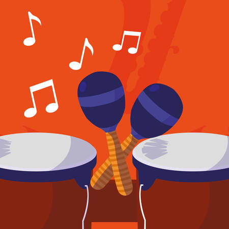 timbal and maracas instruments musical vector illustration design Ilustrace