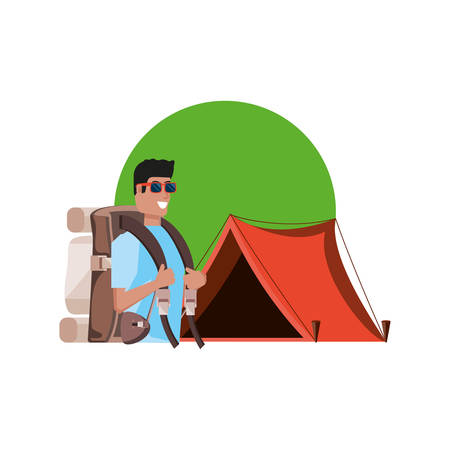 traveler man with travel bag and tent camping vector illustration design