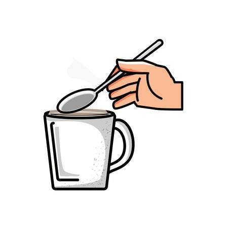 hand with coffee cup and spoon vector illustration design