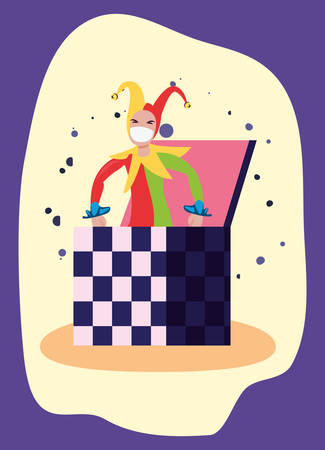 april fools day jack in the box vector illustration