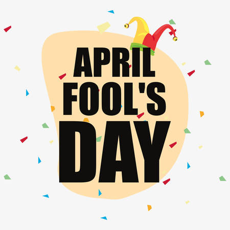 april fools day lettering celebration vector illustration