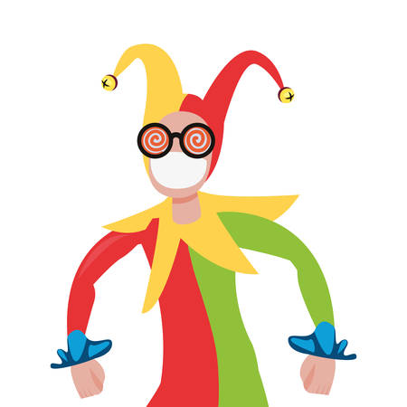 cheerful jester comic april fools day vector illustration