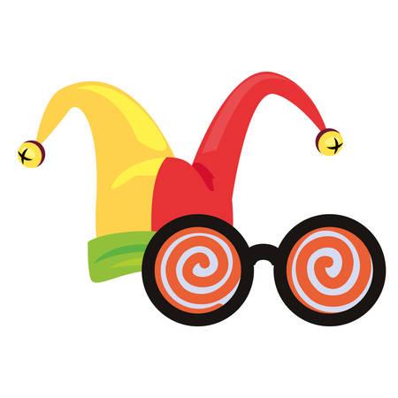 hat glasses crazy april fools day vector illustration