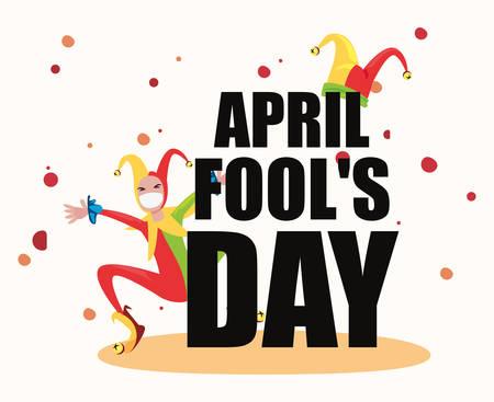 april fools day joker comic poster vector illustration