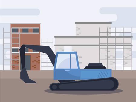 under construction excavator vehicle vector illustration design