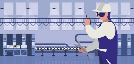worker in factory workplace vector illustration design