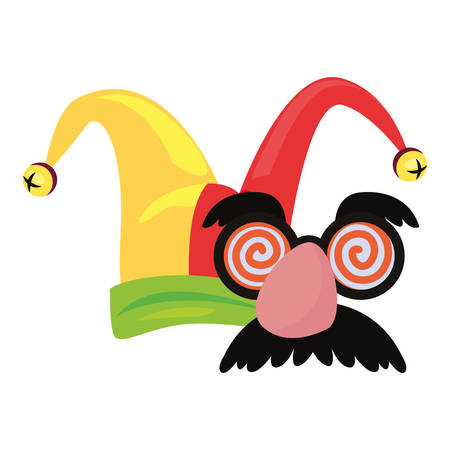 hat glasses mustache april fools day vector illustration Illustration