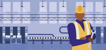 worker black in factory workplace vector illustration design