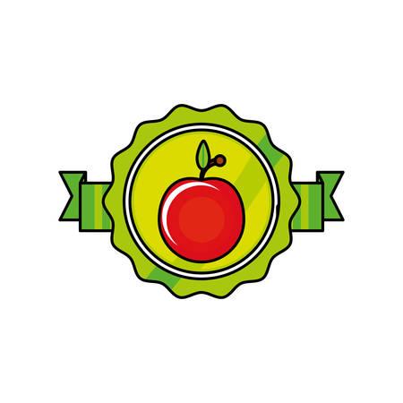 fresh tomato vegetable seal stamp vector illustration design Illustration