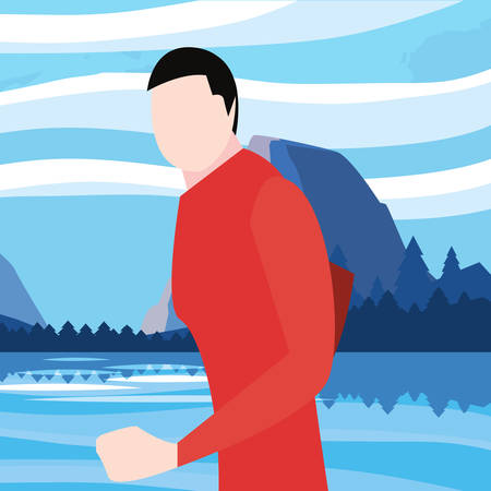 landscape nature with standing man vector illustration