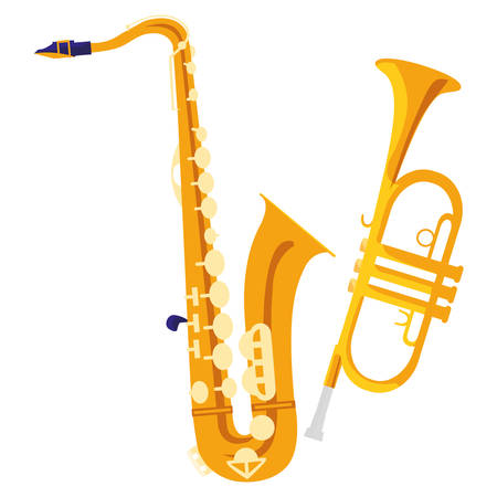 saxophone and trumpet instruments musical vector illustration design